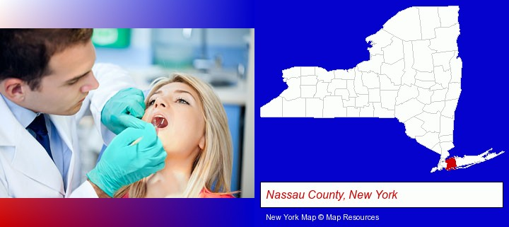 a dentist examining teeth; Nassau County, New York highlighted in red on a map