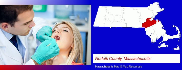 a dentist examining teeth; Norfolk County, Massachusetts highlighted in red on a map
