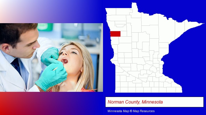 a dentist examining teeth; Norman County, Minnesota highlighted in red on a map