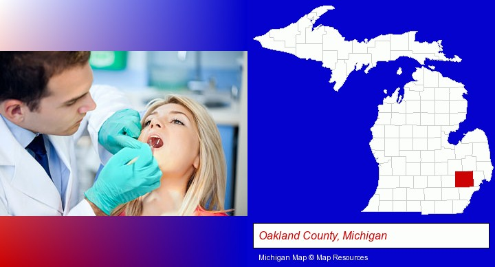 a dentist examining teeth; Oakland County, Michigan highlighted in red on a map