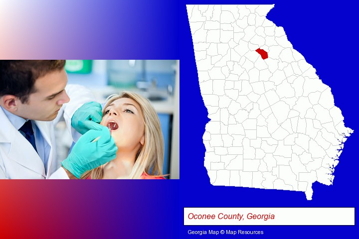a dentist examining teeth; Oconee County, Georgia highlighted in red on a map