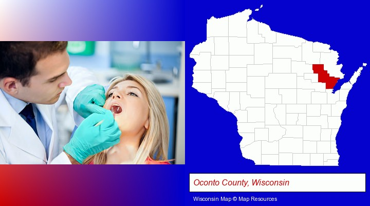 a dentist examining teeth; Oconto County, Wisconsin highlighted in red on a map