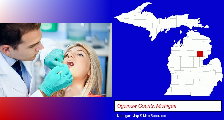 a dentist examining teeth; Ogemaw County, Michigan highlighted in red on a map