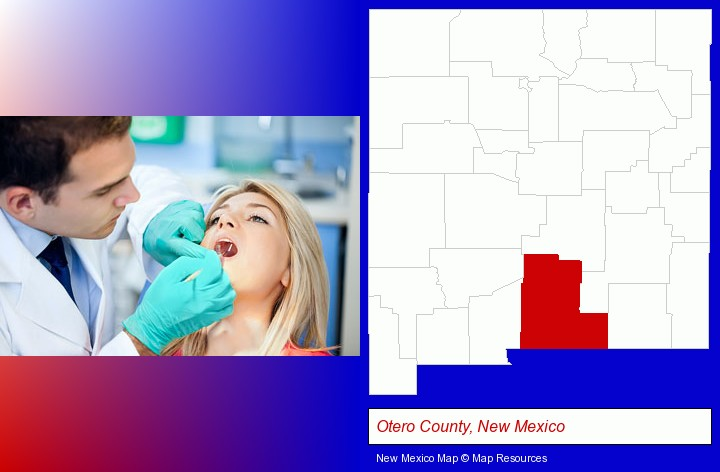 a dentist examining teeth; Otero County, New Mexico highlighted in red on a map