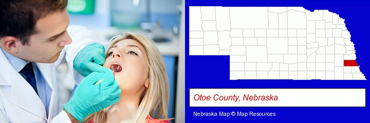 a dentist examining teeth; Otoe County, Nebraska highlighted in red on a map