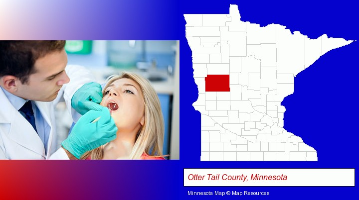 a dentist examining teeth; Otter Tail County, Minnesota highlighted in red on a map