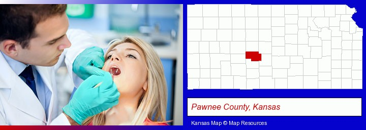a dentist examining teeth; Pawnee County, Kansas highlighted in red on a map