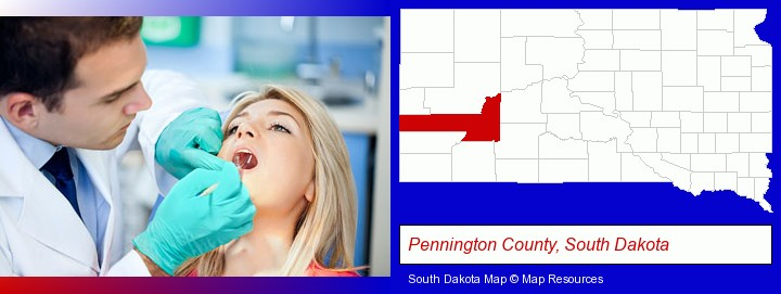 a dentist examining teeth; Pennington County, South Dakota highlighted in red on a map