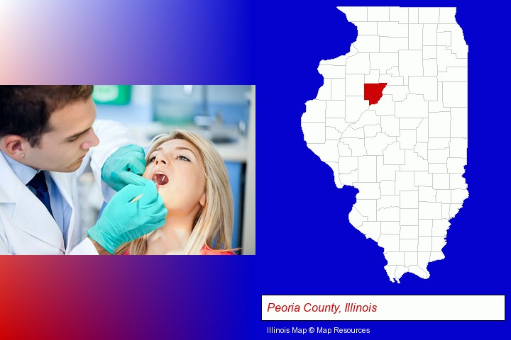 a dentist examining teeth; Peoria County, Illinois highlighted in red on a map