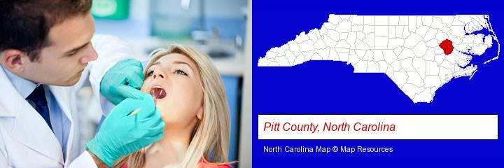 a dentist examining teeth; Pitt County, North Carolina highlighted in red on a map