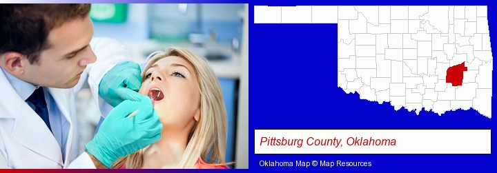 a dentist examining teeth; Pittsburg County, Oklahoma highlighted in red on a map