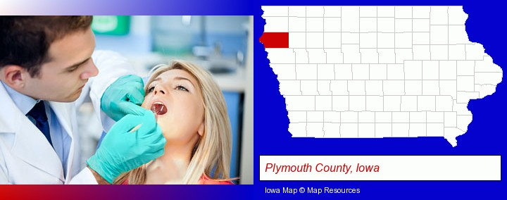 a dentist examining teeth; Plymouth County, Iowa highlighted in red on a map