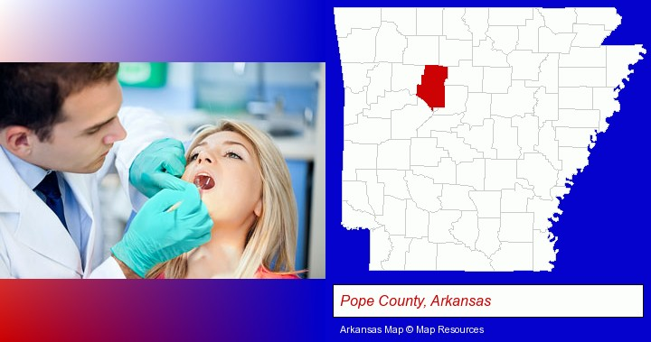 a dentist examining teeth; Pope County, Arkansas highlighted in red on a map