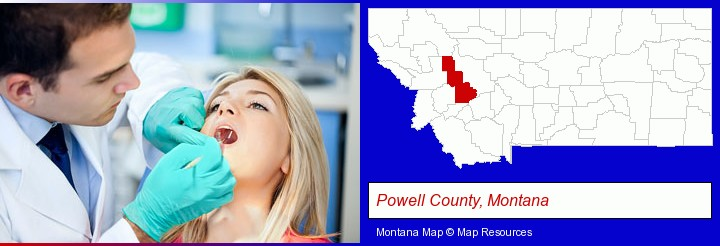 a dentist examining teeth; Powell County, Montana highlighted in red on a map