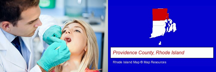 a dentist examining teeth; Providence County, Rhode Island highlighted in red on a map