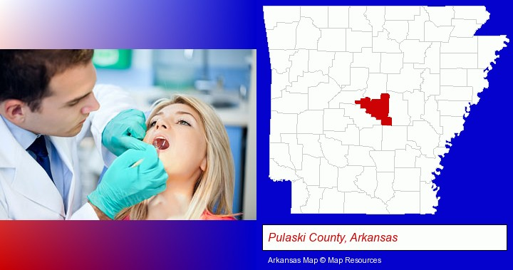 a dentist examining teeth; Pulaski County, Arkansas highlighted in red on a map