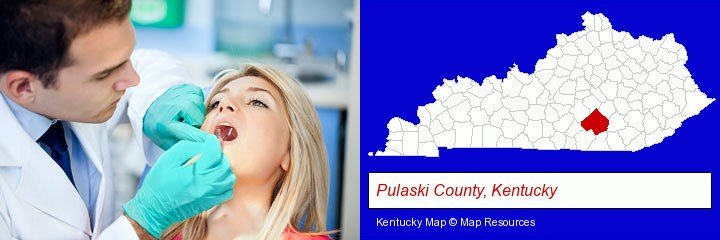 a dentist examining teeth; Pulaski County, Kentucky highlighted in red on a map