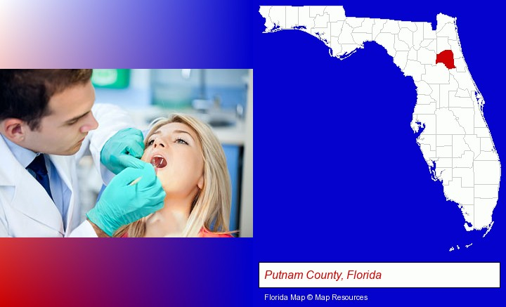 a dentist examining teeth; Putnam County, Florida highlighted in red on a map
