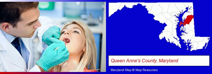 a dentist examining teeth; Queen Anne's County, Maryland highlighted in red on a map