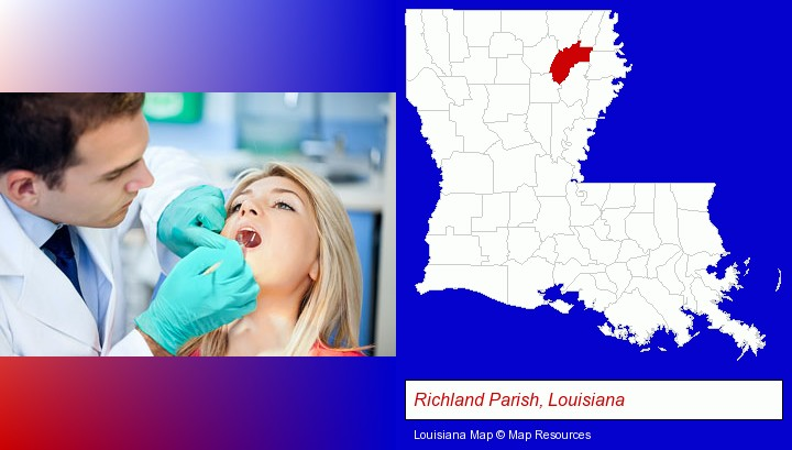 a dentist examining teeth; Richland Parish, Louisiana highlighted in red on a map