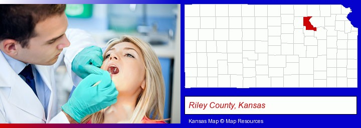 a dentist examining teeth; Riley County, Kansas highlighted in red on a map