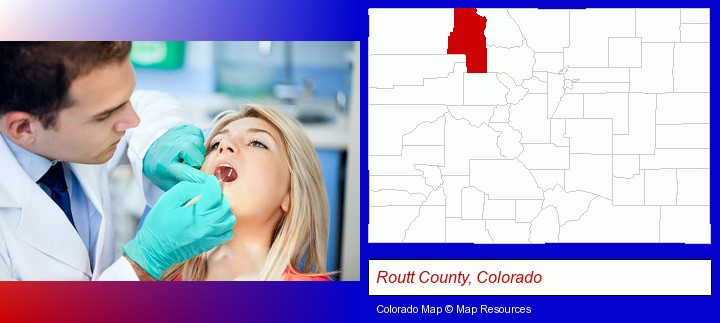 a dentist examining teeth; Routt County, Colorado highlighted in red on a map