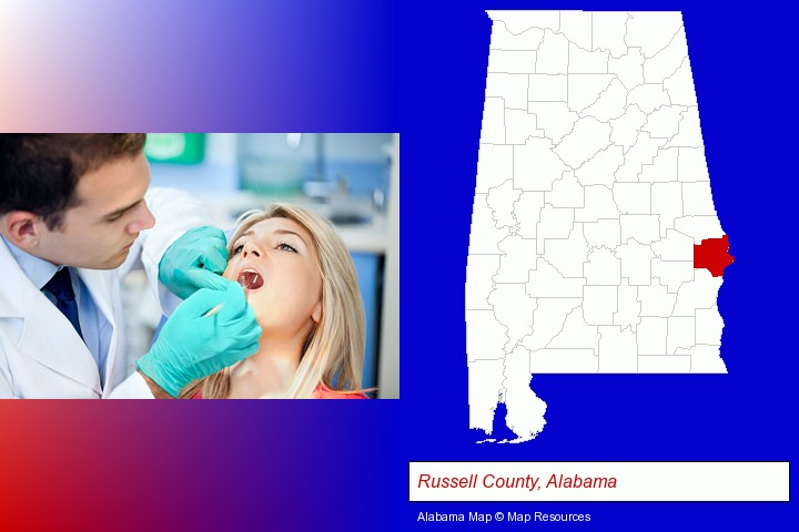a dentist examining teeth; Russell County, Alabama highlighted in red on a map