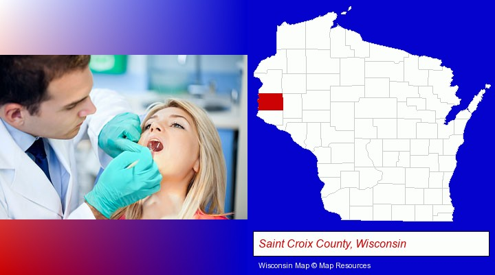 a dentist examining teeth; Saint Croix County, Wisconsin highlighted in red on a map