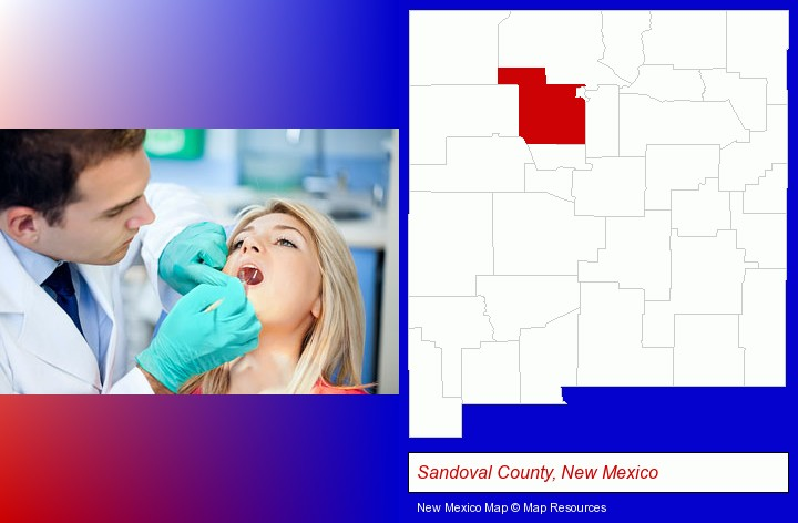 a dentist examining teeth; Sandoval County, New Mexico highlighted in red on a map