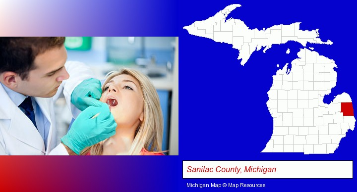 a dentist examining teeth; Sanilac County, Michigan highlighted in red on a map