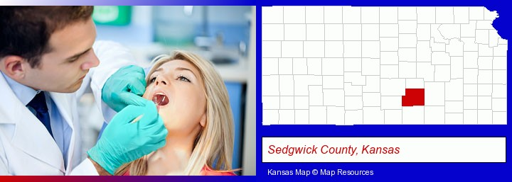a dentist examining teeth; Sedgwick County, Kansas highlighted in red on a map