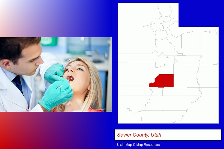 a dentist examining teeth; Sevier County, Utah highlighted in red on a map