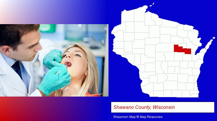 a dentist examining teeth; Shawano County, Wisconsin highlighted in red on a map