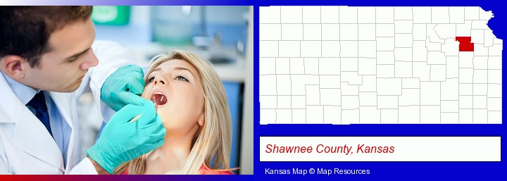 a dentist examining teeth; Shawnee County, Kansas highlighted in red on a map