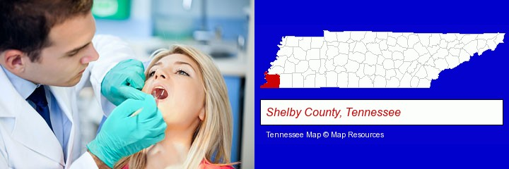 a dentist examining teeth; Shelby County, Tennessee highlighted in red on a map