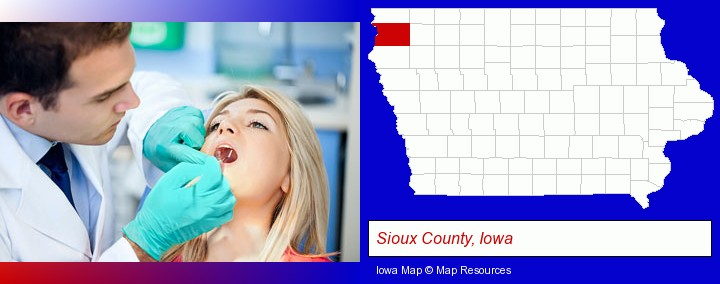 a dentist examining teeth; Sioux County, Iowa highlighted in red on a map