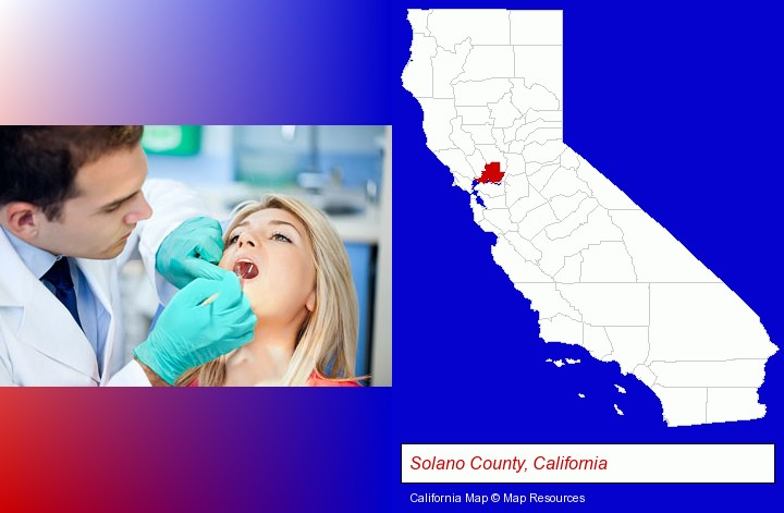 a dentist examining teeth; Solano County, California highlighted in red on a map