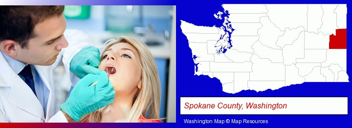 a dentist examining teeth; Spokane County, Washington highlighted in red on a map