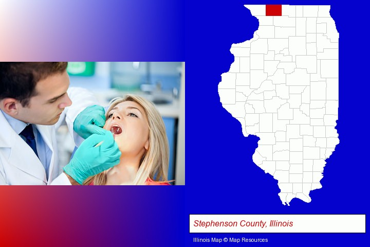 a dentist examining teeth; Stephenson County, Illinois highlighted in red on a map