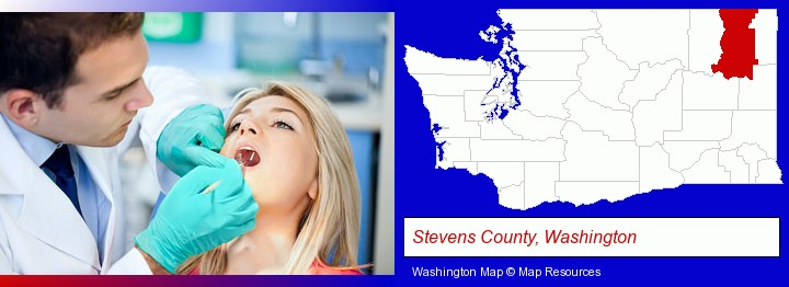 a dentist examining teeth; Stevens County, Washington highlighted in red on a map