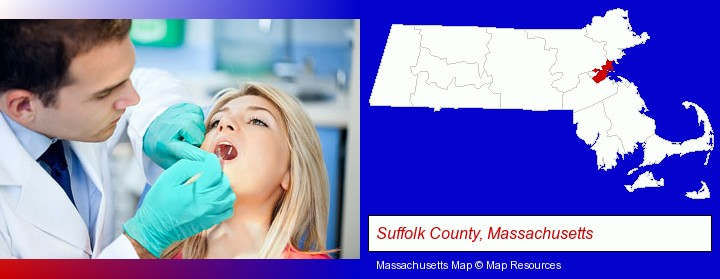 a dentist examining teeth; Suffolk County, Massachusetts highlighted in red on a map