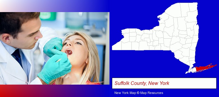 a dentist examining teeth; Suffolk County, New York highlighted in red on a map