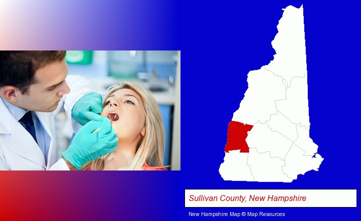 a dentist examining teeth; Sullivan County, New Hampshire highlighted in red on a map