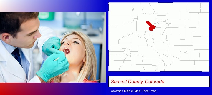 a dentist examining teeth; Summit County, Colorado highlighted in red on a map