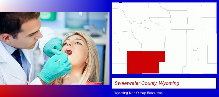 a dentist examining teeth; Sweetwater County, Wyoming highlighted in red on a map
