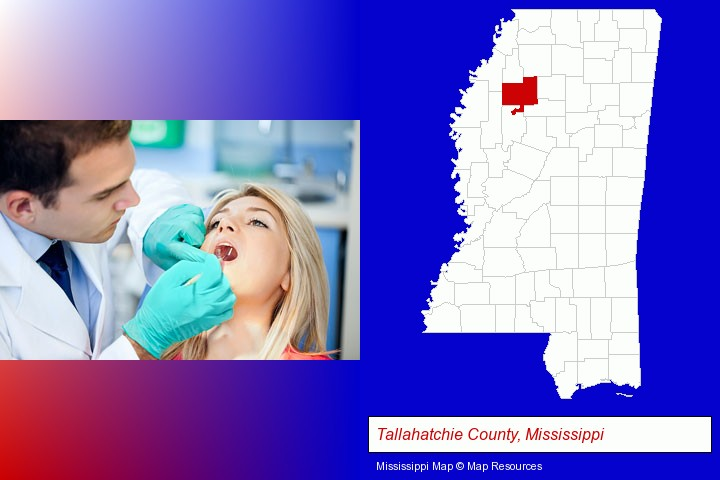 a dentist examining teeth; Tallahatchie County, Mississippi highlighted in red on a map