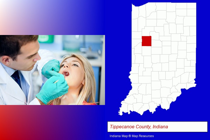 a dentist examining teeth; Tippecanoe County, Indiana highlighted in red on a map