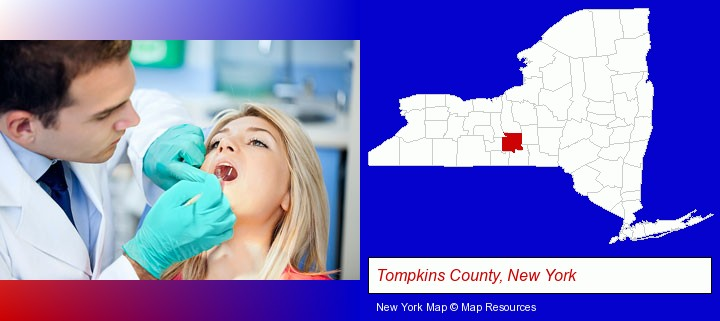 a dentist examining teeth; Tompkins County, New York highlighted in red on a map