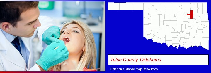 a dentist examining teeth; Tulsa County, Oklahoma highlighted in red on a map