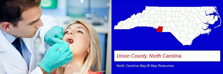 a dentist examining teeth; Union County, North Carolina highlighted in red on a map